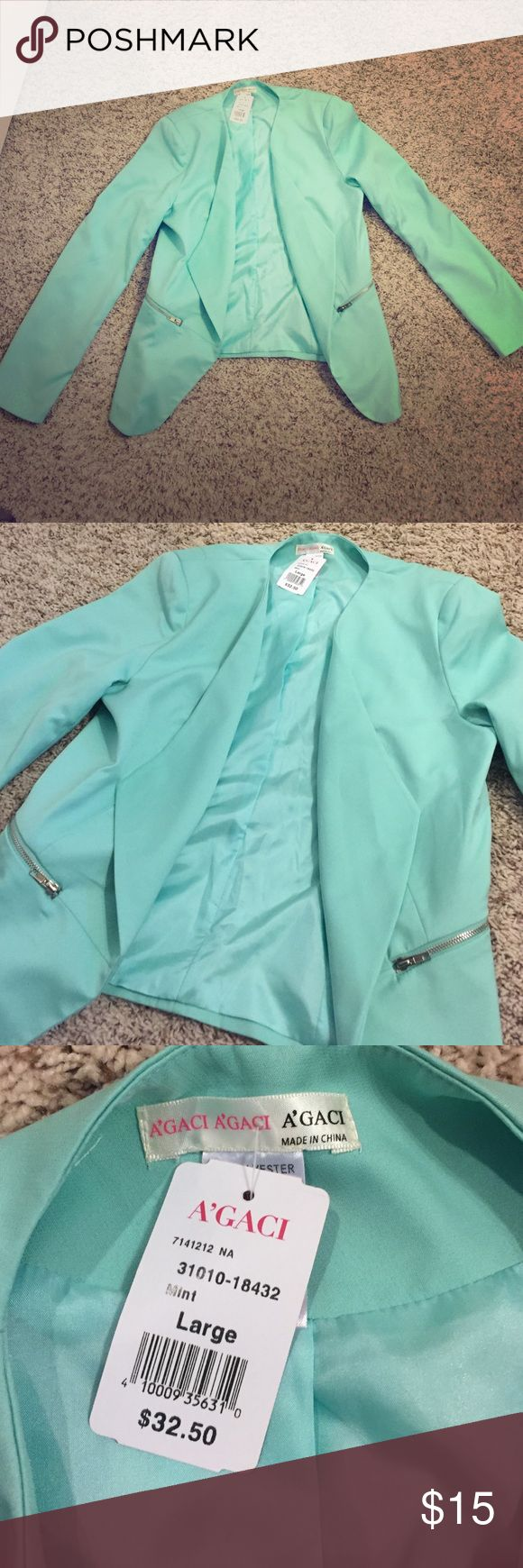 Turquoise Blazer A'Gaci Turquoise blazer with silver zippers. Brand new with tags! Size Large! a'gaci Jackets & Coats Blazers