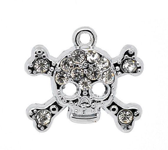 1 Rhinestone  Skull Charm Pendant 20x18mm by DiamondRox on Etsy, $1.25