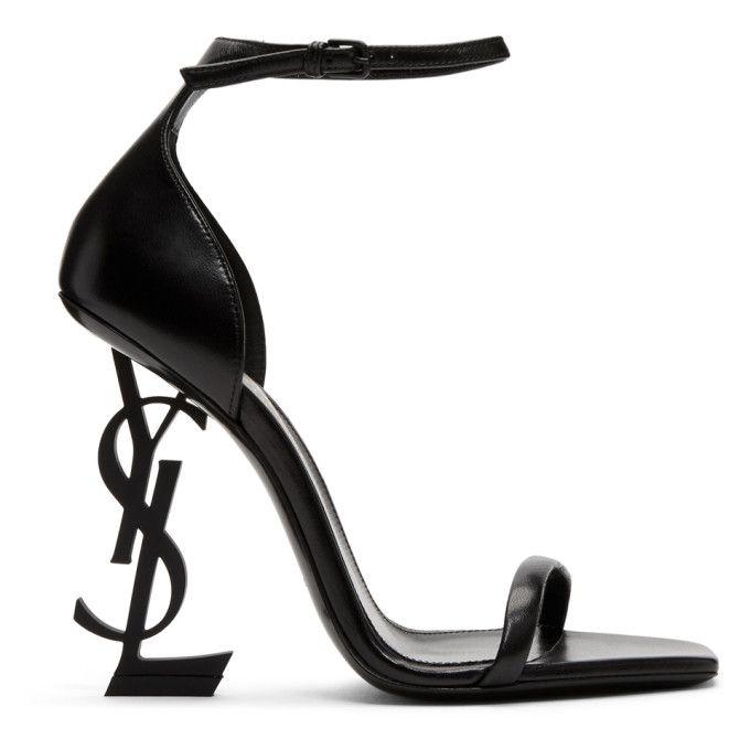 Saint Laurent Opyum Sandals In Patent Leather With A Black Heel Modesens Heels Sandals Heels Saint Laurent