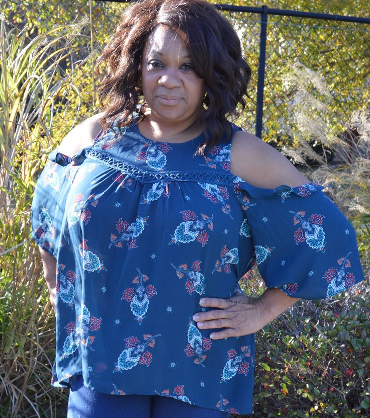 Love On A Hanger NWT Moody Blue Floral Pattern #ColdShoulder Boho Gauze Blouse 1x #Plussize