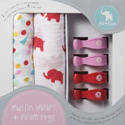 All4Ella 2 Pack Muslin Wrap & 4 Pram Pegs (red elephants & spots) Available: http://premmieto2.com.au/product/all4ella-2-pack-muslin-wrap-4-pram-pegs-redelephantandspots-baby-shower-gifts/