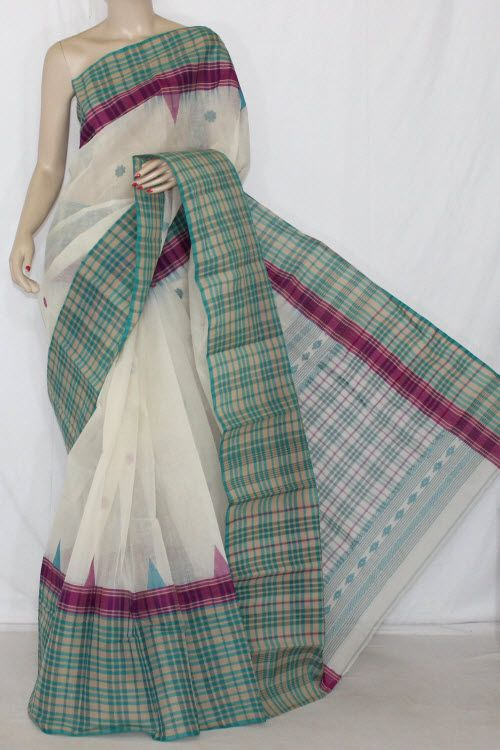 Off White Sea Green Handwoven Bengali Tant Cotton Saree (Without Blouse) Check Border 14202