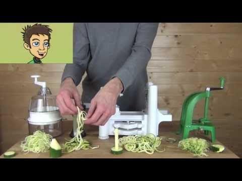 ▶ Comparative Demonstration Spirooli, GEFU, Benriner, Joyce Chen Slicers in the Raw Nutrition Kitchen - YouTube