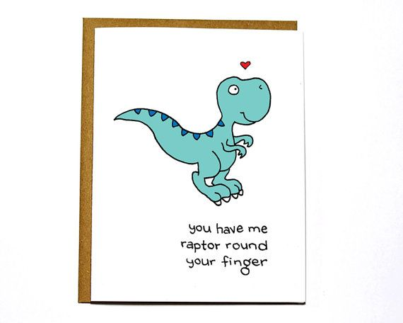 Raptor dinosaur funny Valentines Day card I by DarkroomandDearly