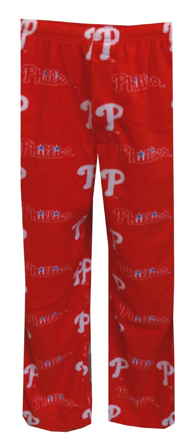 Philadelphia Phillies Logo Guys Fleece Lounge Pants  Show your team spirit! These soft and cozy fleece lounge pants feature the Philadelphia Phillies Trademark Logo in an all-over print on a bright red background. Machine washable with an open fly, side pockets and covered elastic waistband with drawstring tie. Sized up to 2X, $25