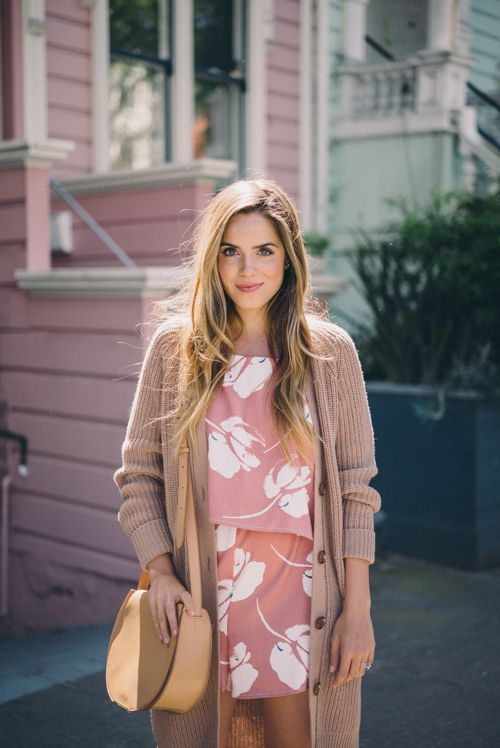 Gal Meets Glam Floral Romper for Spring - Lush Romper, Equipment Sweater, and Cuyana Bag