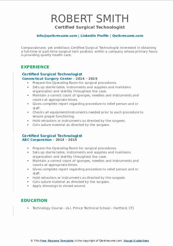 Surgical Technician Resume Examples Fresh Certified Surgical Technologist Resume Samples In 2020 Job Resume Examples Surgical Technician Resume Examples