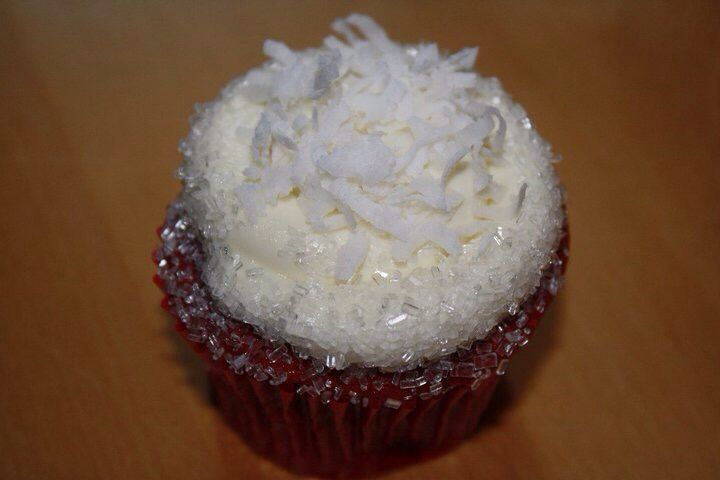 Red velvet cupcake with coconut cream cheese frosting. | My Sweets ...