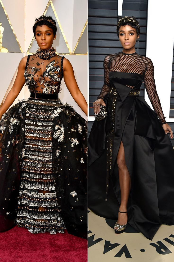 JANELLE MONAE changes for theVanity Fairafterpartyfrom her Elie Saab Haute Couture ballgown into a funky Alexandre Vauthier Haute Couture ballgown with a long grommet-studded belt and mesh panels, Christian Louboutin heels and Jimmy Choo clutch,and adds a different headbandbyJennifer Behr. #jimmychooheelschristianlouboutin