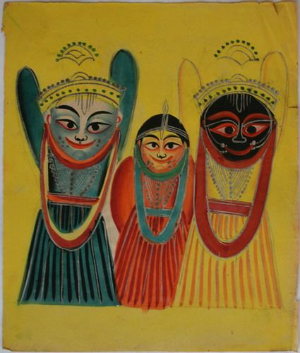 Kalighat collection: Buddha or Jagganath avatar. Orissans percieve Vishnu's Jagannath to be the 9th avatara, believing him to have been conceived as Adi (Primordal) Buddha. Watercolour on paper. Circa 3rd quarter 19th century. 25.5 x 21.6cm