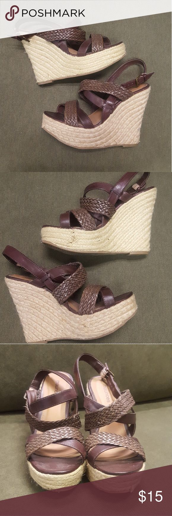 Super cute Maurices wedges!!!! Size 6 brown wedges. They have minimal wear and the pictures show where certain parts have frayed on the wedge. It is hardly noticable in person but wanted to show it on pics. Love these adorable shoes! Maurices Shoes Wedges