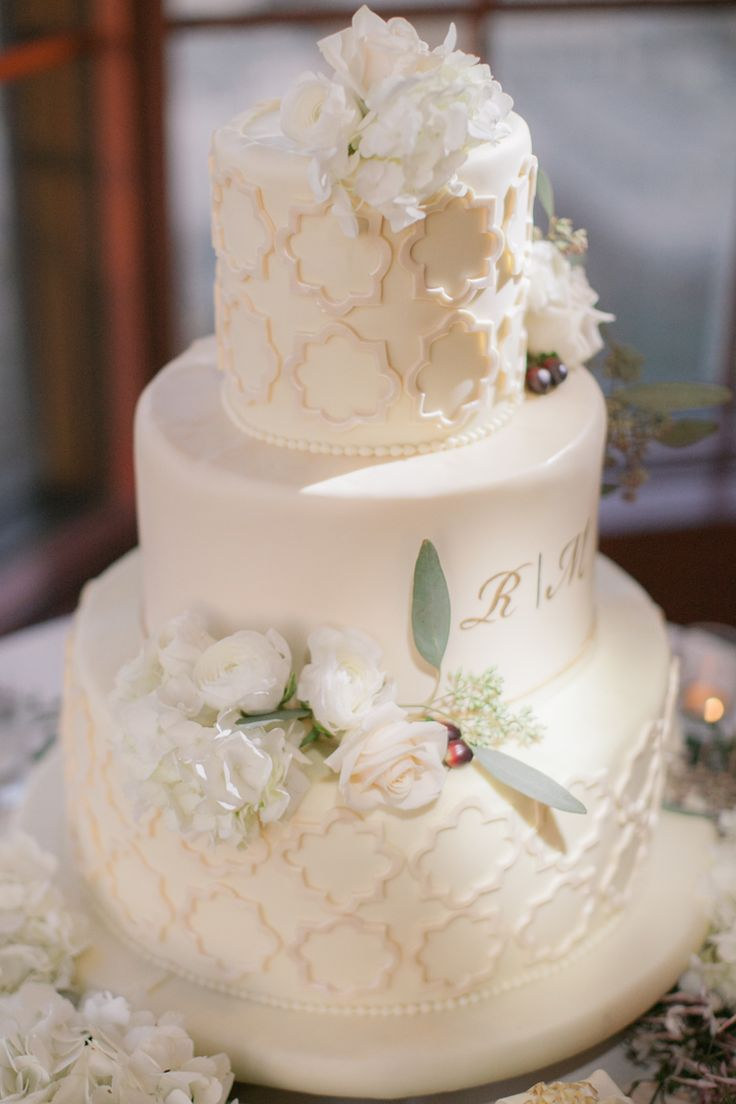 This classic textured three tier all white wedding cake is so gorgeous! (Clane Gessel Photography)