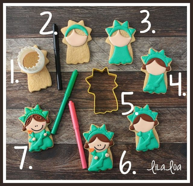 Learn how to make a fun Lady Liberty decorated sugar cookie with this step-by-step tutorial!