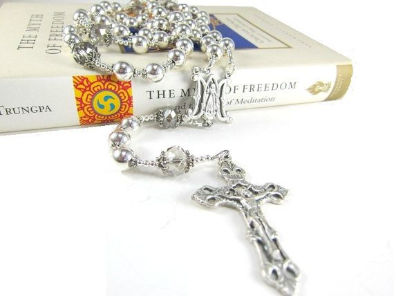 Handmade Silver Rosary Necklace with Czech by AmyKCollections
