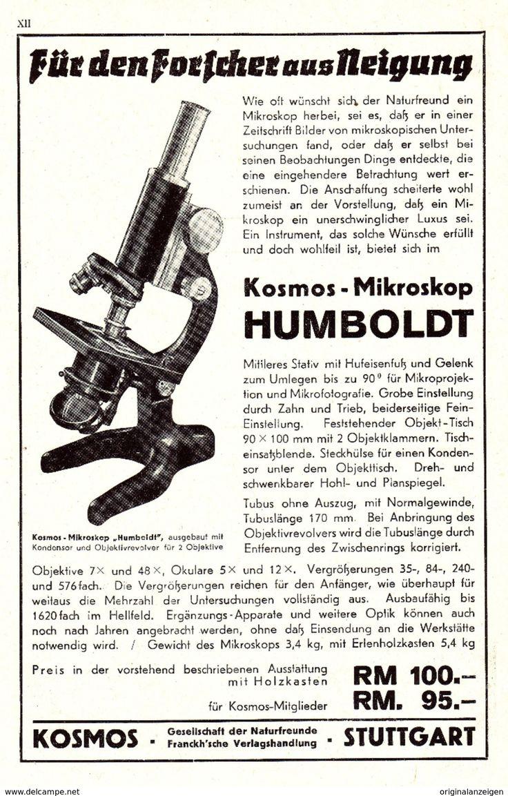 Werbung - Original-Werbung/ Anzeige 1937 - KOSMOS MIKROSKOP HUMBOLDT - ca. 160 x 230 mm
