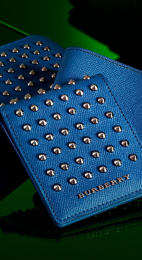 Studded wallets in vibrant blues from the Burberry men's accessories collection.