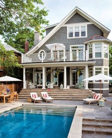 Tiered Backyard With Pool : Dreams Home, Backyards With Pools, Backyards Pools, Summer House