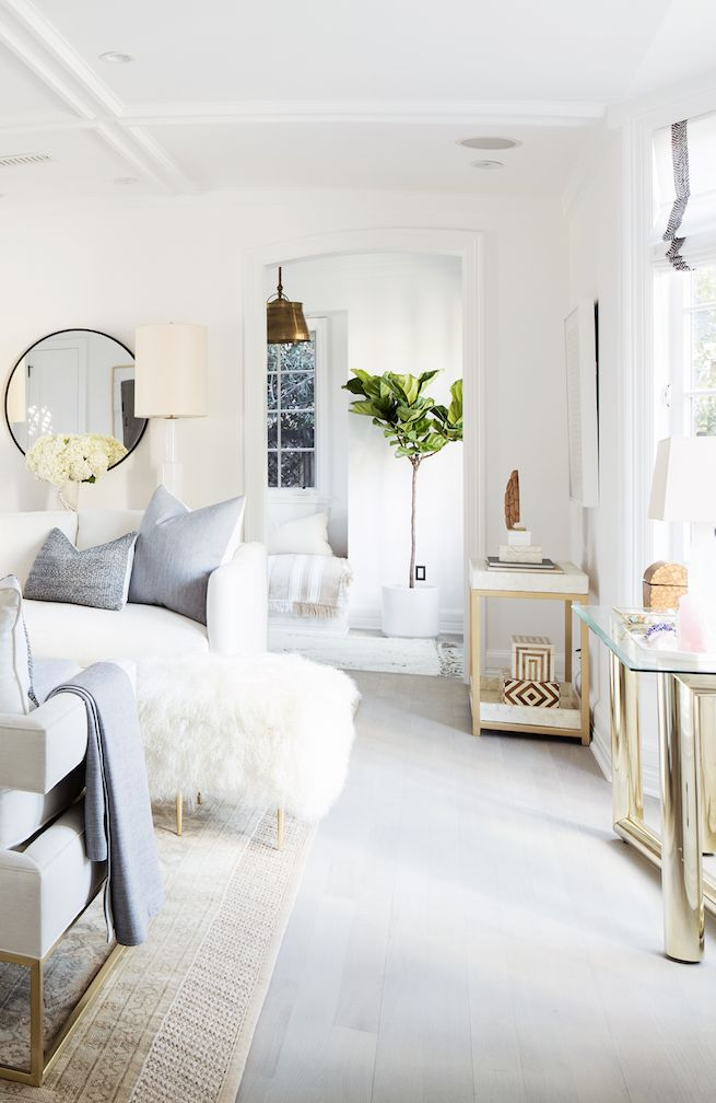 All White Living Room With Blonde Wood And Brass Layered In. Part 87