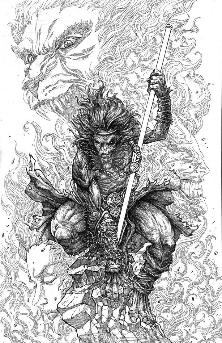 A fan art piece of an Asian Mythological character... where Son Goku of Dragon ball franchise was based.. Art style was inspired by the works of Terada Katsuya!