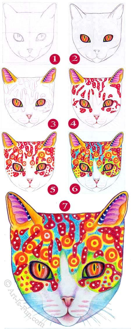 Learn how to draw a colorful cosmic cat in this step-by-step art lesson by Thaneeya McArdle: http://www.art-is-fun.com/how-to-draw-a-cat.html