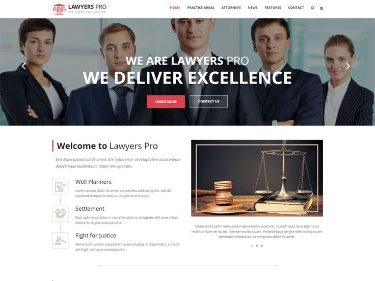 Lawyer Pro is a Lawyer Free HTML Template for Lawyers, Attornyes, Law firms and Corporate sites. Theme is suitable for websites that need a feature rich yet beautiful presence online. It is created by using Twitter Bootstrap 3.+, with a responsive design which makes it a perfect fit for all devices.