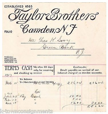 TAYLOR BROTHERS GRAIN & FEED CAMDEN NEW JERSEY ANTIQUE ADVERTISING SALES RECEIPT