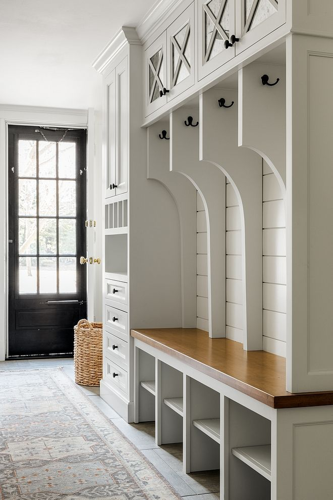 Mudroom Renovation Ideas The Lockers Feature A Stained Wood Bench Shiplap Back And Built In Drop Zone With Drawers