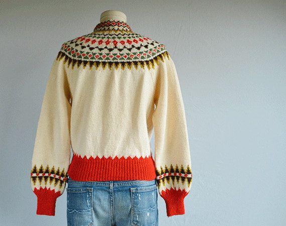 Vintage Norwegian Wool Fair Isle Cardigan / 1950s by zestvintage