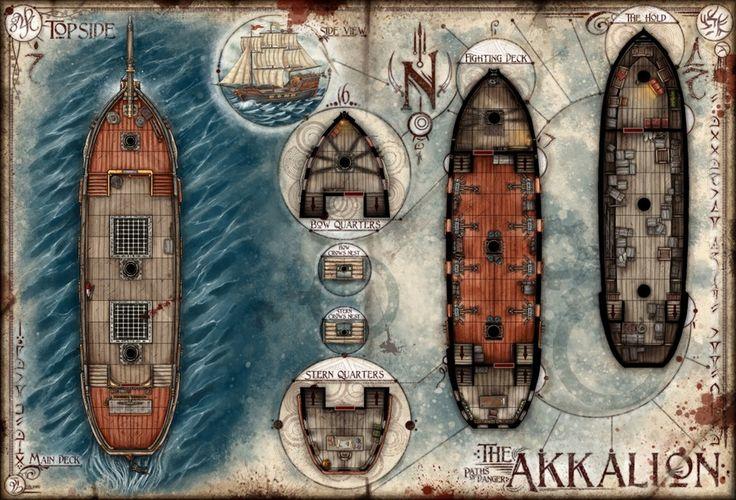 Image of The Akkalion: Multi-Deck Ship Map (Digital Download)