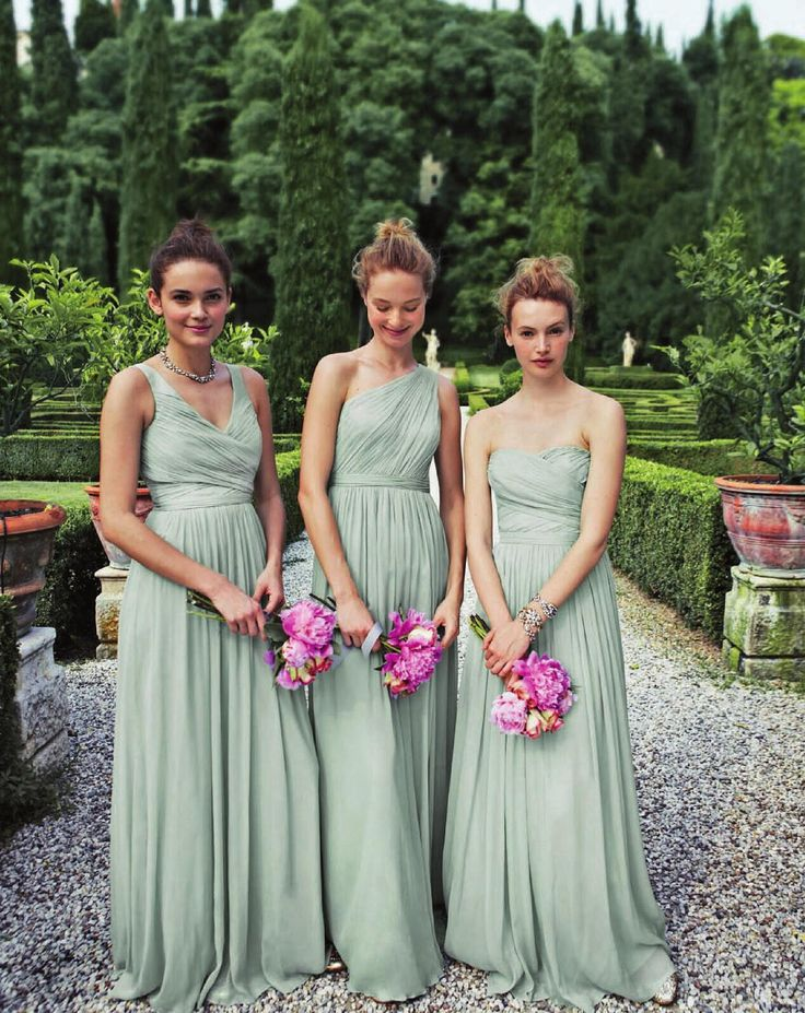 These bridesmaids need to stand up straight. Mint green, long, elegance, chic