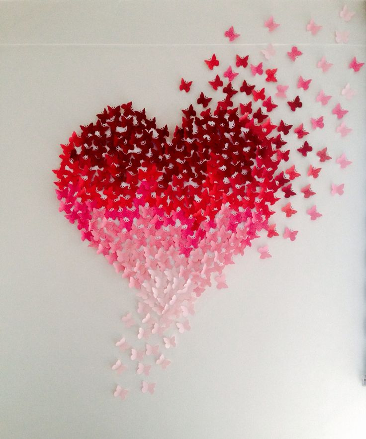 3D pink ombre butterfly heart