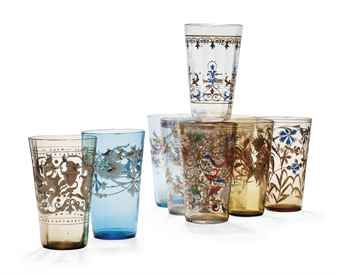 NINE ENAMELLED GLASSES BY FRITZ HECKERT  CIRCA 1900, GILT FH. MARKS AND PATTERN NOS.  Price realised  GBP 562