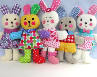 INSTANT DOWNLOAD - PDF - Ragtaggle Rabbits - plush toy sewing pattern