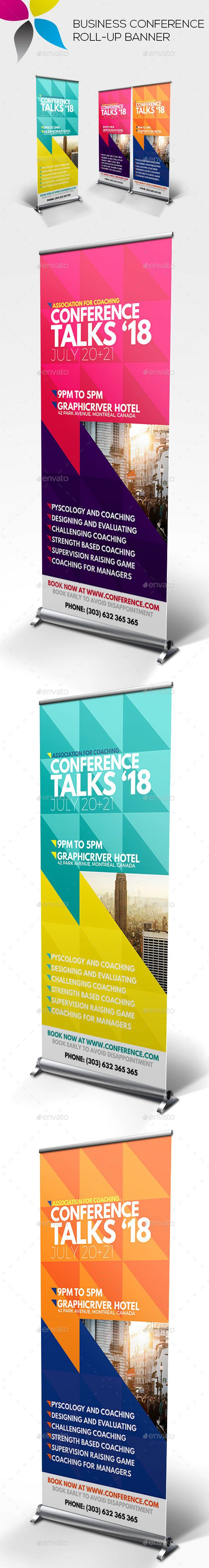 Business Conference Roll-up Banner Design Template - Signage Ads Banner Print Template PSD. Download here: https://graphicriver.net/item/business-conference-rollup-banner/19318286?ref=yinkira