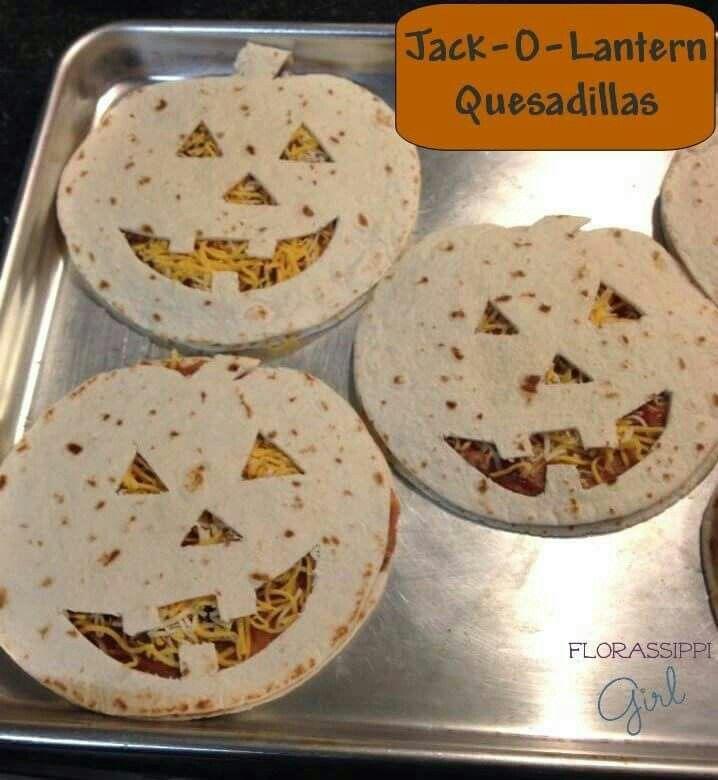 Jack-o'-lantern quesadillas