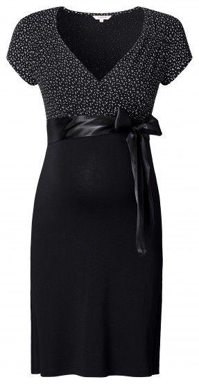 Tehotenské elegantné šaty s krátkym rukávom NOPPIES - čierna