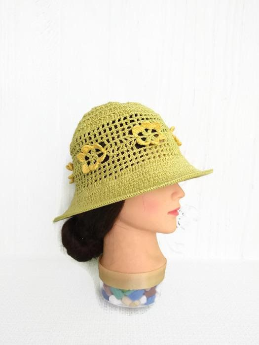 e647cbcb Womens summer cloche hat with flowers Cotton sun hat crocheted Floppy wide  brim sun hat women Knit cloche hat summer yellow flower for beach #floral  #beach ...