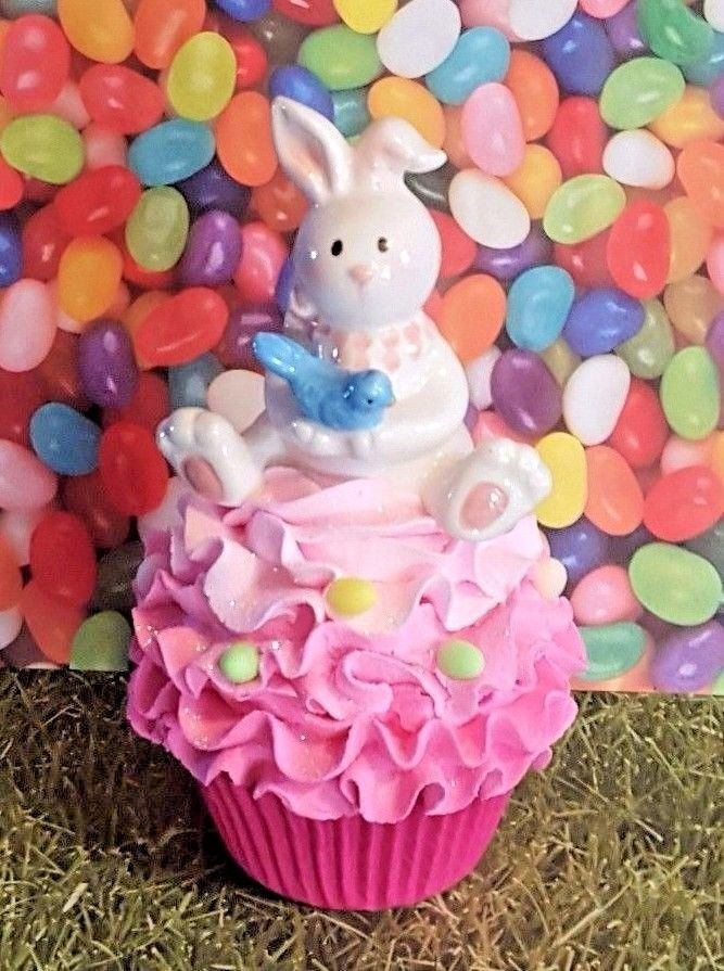 BUNNY FAKE CUPCAKE, EASTER BASKET FILLERS, PHOTO PROPS, KITCHEN CUPCAKE DECOR #FAKECUPCAKECREATIONS