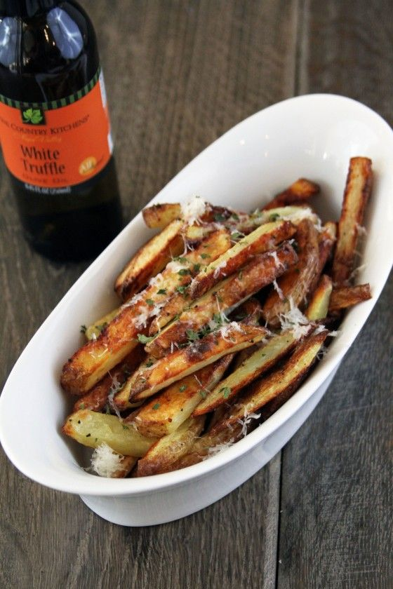 Oven Baked Parmesan Truffle Fries...I had truffle fries at Franks-N-Dawgs in Chicago, they are to die for!  These look a tad bit healthier since they are baked.