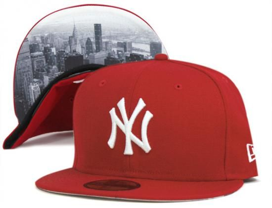 New York Yankees City Landscape Scarlet 59Fifty Fitted Baseball Cap by NEW ERA x MLB