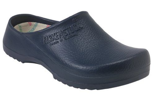Birkenstock 68071 Blue Super Birki Clog Size 13 to 13-1/2 (Men's) by Flagline. $79.95. Cork/latex footbed is molded to support the arches of the foot. Ideal for the dirty work in the garden. Flexible polyurethane is washable with soap and water. Cork/latex footbed is washable and replaceable. European size 46; fits men's size 13-13 1/2. Amazon.com                There's a delicious satisfaction in slipping on a good pair of clogs as you head out to the garden. Thes...