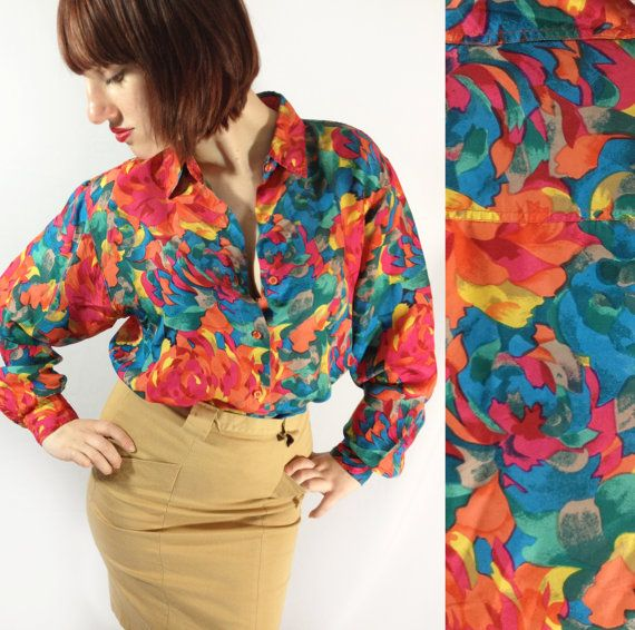 Neon Floral Silk 90s Womens Blouse // Abstract Impessionist Print.
