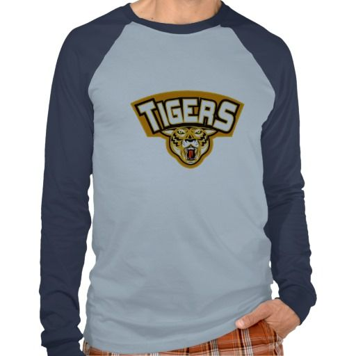 """Tiger sports mascot head front t-shirt. illustration of an angry tiger head front view with words """"tigers"""" suitable for your rugby,soccer, football or any sports sporting club team mascot. #illustration #Tigersportsmascotheadfront #rwc #rwc2015 #rugbyworldcup"""