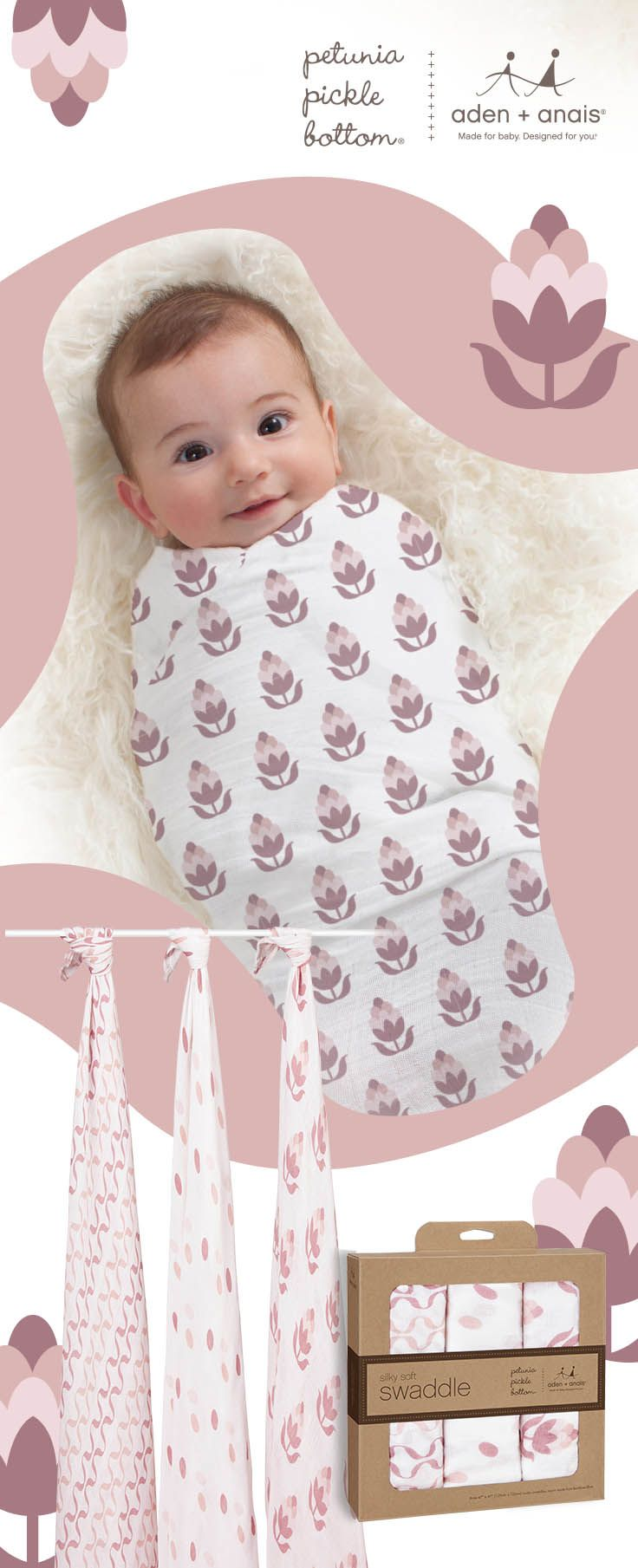 Made from luxuriously soft rayon made from bamboo, these breathable muslin swaddles can also be used as stroller covers, burp cloths, nursing covers and more. Plus, the beautiful @ppbbaby prints ensure your little one is not only comfy, but oh-so adorable too.