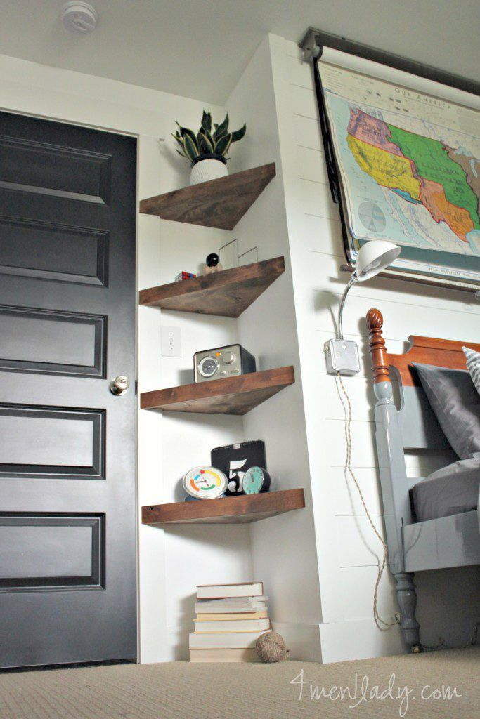 Boy's bedroom ideas, Before and After, Plank Wall, Floating Shelves, DIY