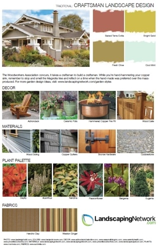 To see this high-res inspiration guide to designing a landscape for a Craftsman-style home, visit http://www.landscapingnetwork.com/garden-styles/Craftsman-Landscape-Design.pdf Yep, it's printable!