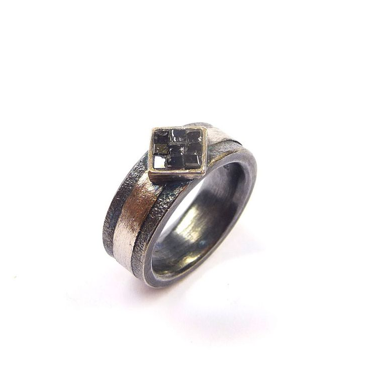 Ring Silber / Platin Diamantwürfel