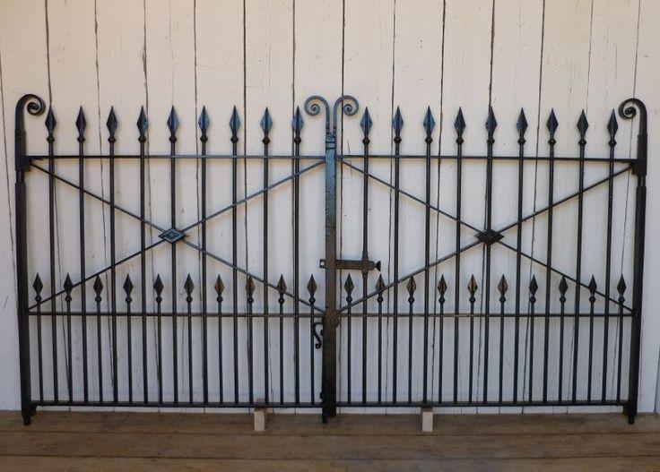 Pair of Antique Reclaimed Wrought Iron Gates - 289 cm