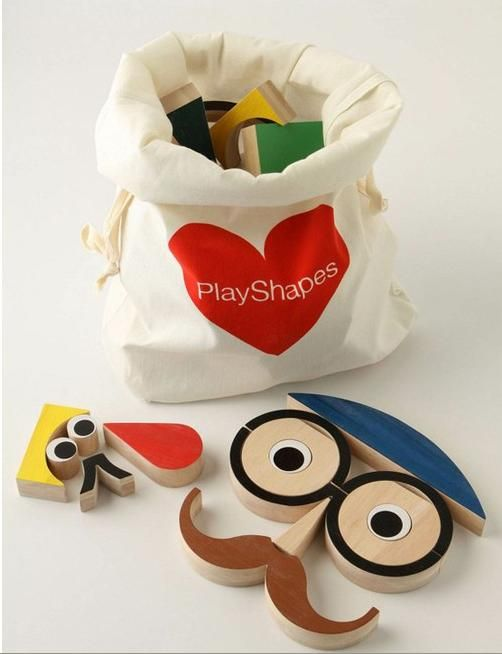 Swooning! Play Shapes 74 Wooden Blocks