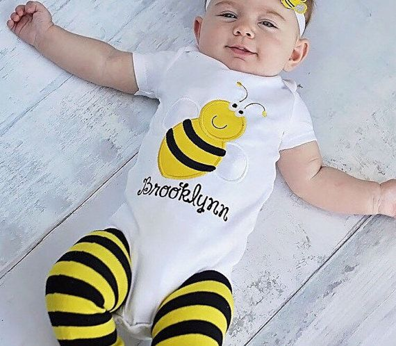 Bumble Bee Personalized Birthday Outfit! Perfect Infant to Toddler Halloween Costume! bunblr Bee Halloween Costume! First Birthday Outfit!